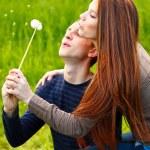 Portrait happy young teenage couple outdoor — Stock Photo