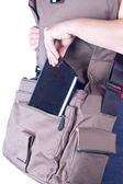 Bag and the tablet computer — Stock Photo