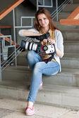 Woman reporter — Stock Photo