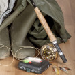 Stock Photo: Flyfishing equipment ready for use