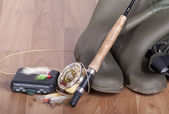 Fishing equipment ready for use — Stock Photo
