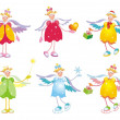 Stock Vector: Collection of cute christmas angels.