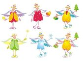 Collection of cute christmas angels. — 图库矢量图片