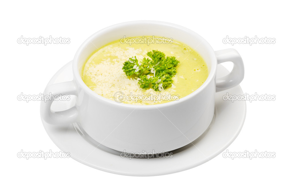 Cream soup in white bowl isolated — Stock Photo #9978823