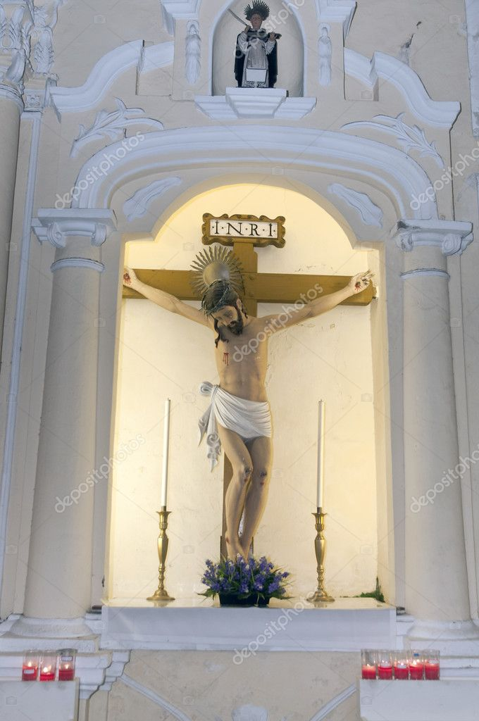 Jesus status woth cross at a church in macau hongkong  Stock Photo #10380850