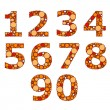 Stock Vector: Set of orange numbers. Vector illustration