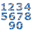 Set of blue numbers. Vector illustration — Stock Vector