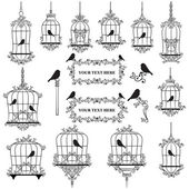 Illustrated birds in cages — Stok Vektör