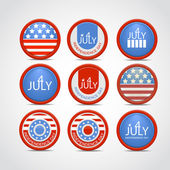 Set 4 july vector badge — Vettoriale Stock