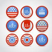Set 4 july vector badge — Vettoriale Stock