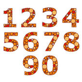Set of orange numbers. Vector illustration — Stock Vector