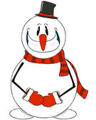 The ridiculous snowman in a hat — Stock Vector