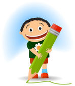 The cheerful boy with a pencil — Vector de stock