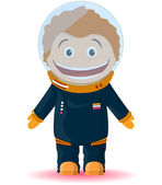 Drawing funny kid in a spacesuit — Stock Vector