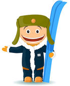 The cheerful boy with skis — Stock Vector