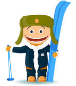 The cheerful skier — Stock Vector