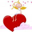 Cheerful angel on heart. Vector illustration — Stock Vector