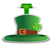 Patrick green hat. Label — Stock Vector