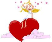 对心脏的快乐天使。矢量插画 — 图库矢量图片