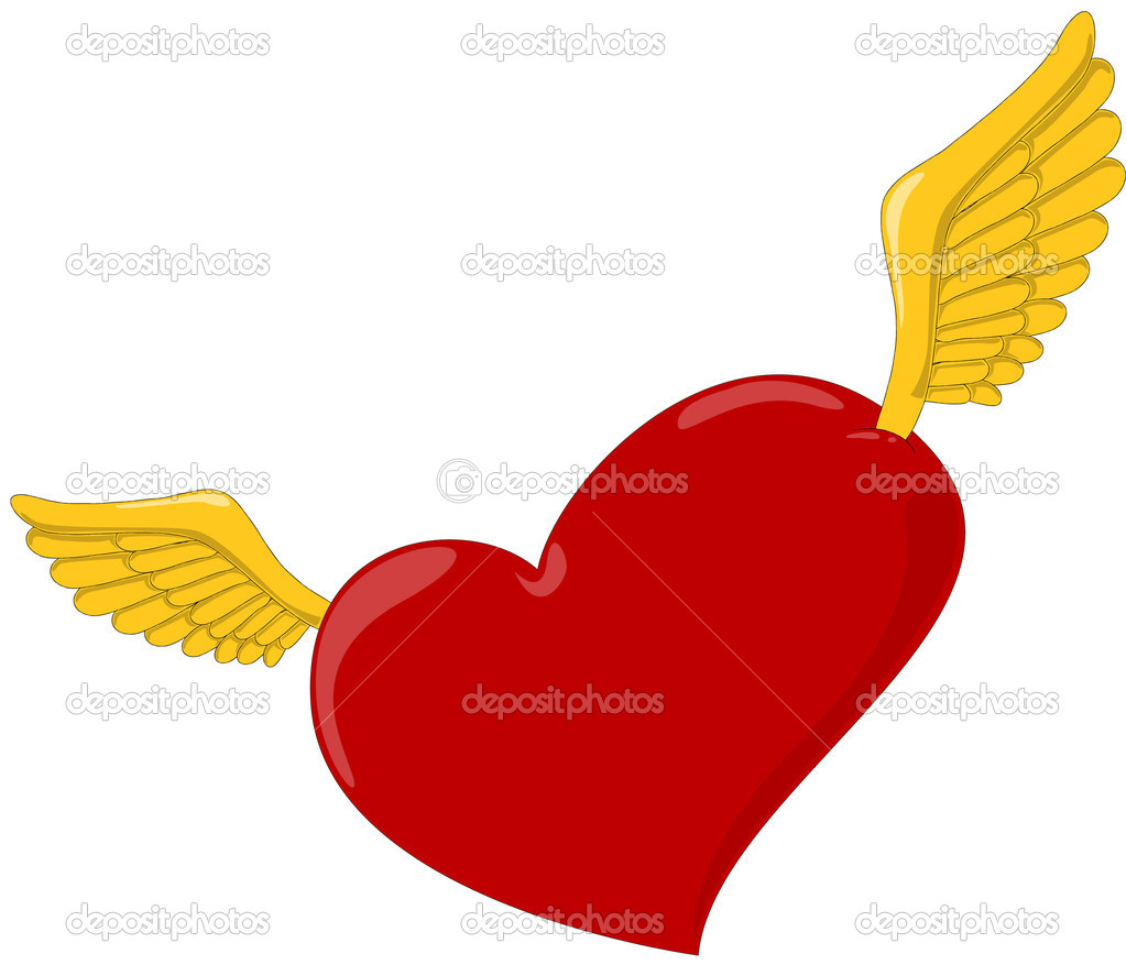 Heart with wings. Vector illustration — Stock Vector #9475829