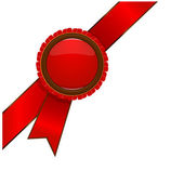 Red award ribbon badge — Vector de stock