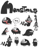 The set of monsters — Stock Vector