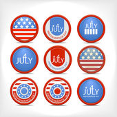 Set 4 july vector badge. — Stock Vector