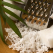 Grated coconut with grater and nut — Stock Photo