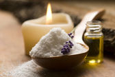 Bath Salt With Fresh Lavender Flowers — Stock Photo