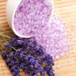 Stock Photo: Lavender flowers and the bath salt - beauty treatment