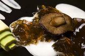 Molecular gastronomy - mushroom soup — Stock Photo