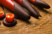 Homemade chocolate with chilli — Stock Photo