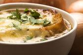 Soupe à l'oignon avec des ingrédients de français — Photo
