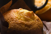 Homemade cinnamon muffins with coffe — Stock Photo