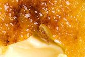 French dessert - cream brulee, burnt cream — Stock Photo
