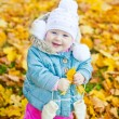 Little Girl With Yellow Leaf — Stock Photo
