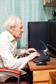Old Man Working On Computer — Stock Photo