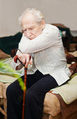 Unhappy Old Man With Cane — Stock Photo