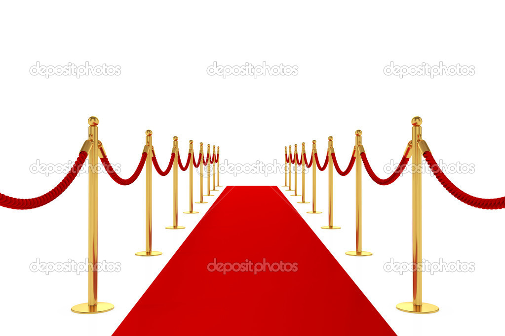 3d render of red carpet isolated on white background — Stock Photo #10439951