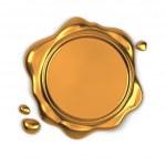 Golden wax seal — Stock Photo