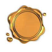 Golden wax seal — Stock Photo