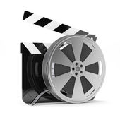 Clapper board with film reel — Stock Photo