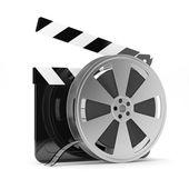 Clapper board with film reel — Stockfoto