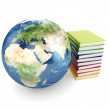 Earth planet and books — Stockfoto
