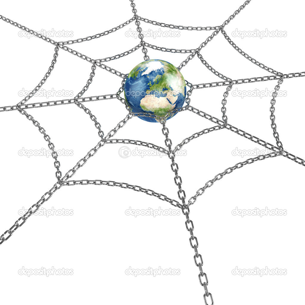 3d illustration of Earth planet with metal web — Stock Photo #8861976