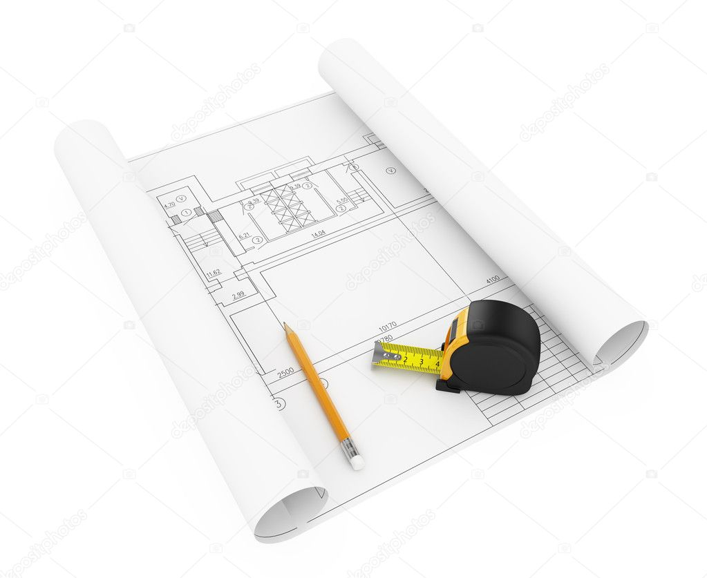3d illustration of hous plan with tape measure and pencil — Stock Photo #8927319