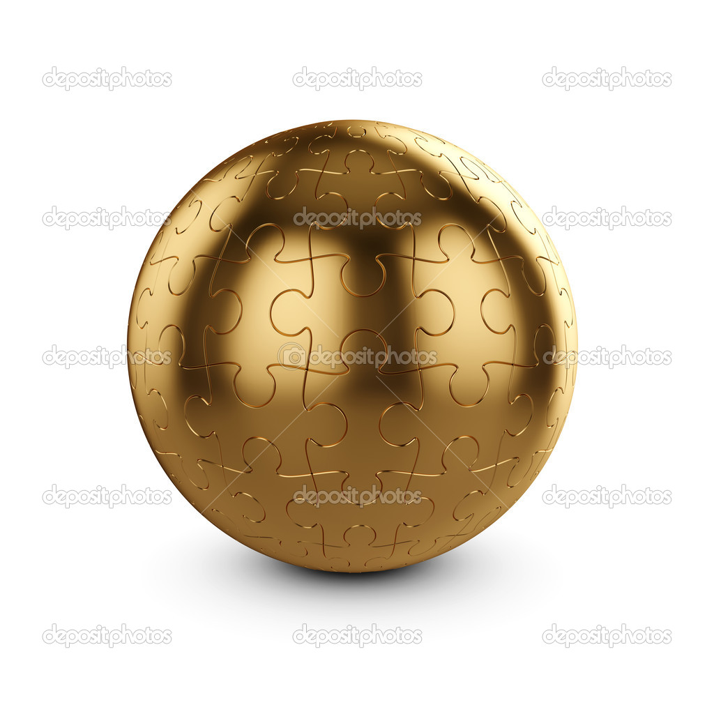 3d illustration of golden puzzle sphere isolated on white background — Stock Photo #9208371