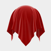 白い背景で隔離の球 coverered 赤い絹の 3 d イラストレーション — ストック写真