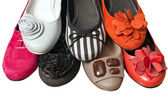 Different colors female shoe isolated — Foto Stock