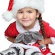 Portrait of happy little girl with toy in santa claus clothes — ストック写真